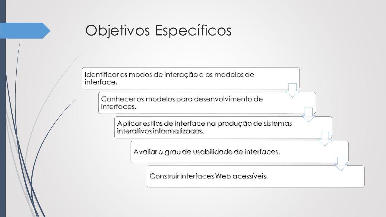 Objetivos Específicos Identificar os modos de interação e os modelos de interface. Conhecer os modelos para desenvolvimento de interfaces. Aplicar est