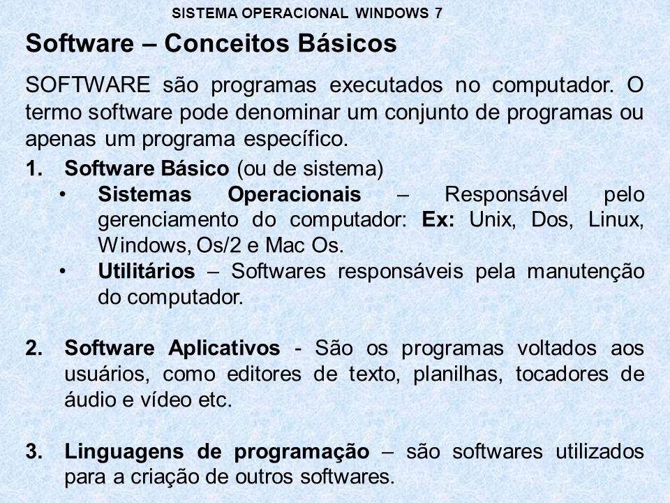 SOFTWARE são programas executados no computador. O termo software pode denominar um conjunto de programas ou apenas um programa específico. Software –