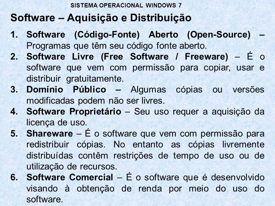 Software – Aquisição e Distribuição 1.Software (Código-Fonte) Aberto (Open-Source) – Programas que têm seu código fonte aberto. 2.Software Livre (Free