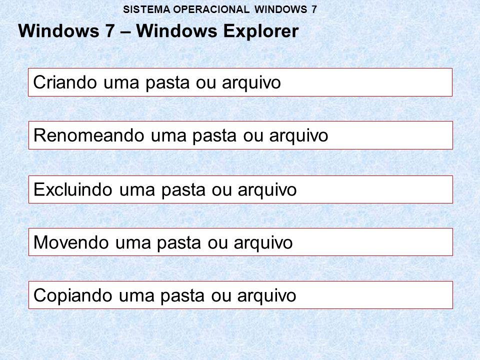 Criando uma pasta ou arquivo Windows 7 – Windows Explorer SISTEMA OPERACIONAL WINDOWS 7 Renomeando uma pasta ou arquivo Excluindo uma pasta ou arquivo