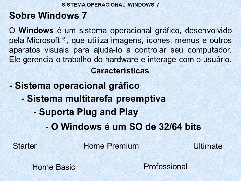 Com relação ao sistema operacional Windows 7, assinale a opção correta.