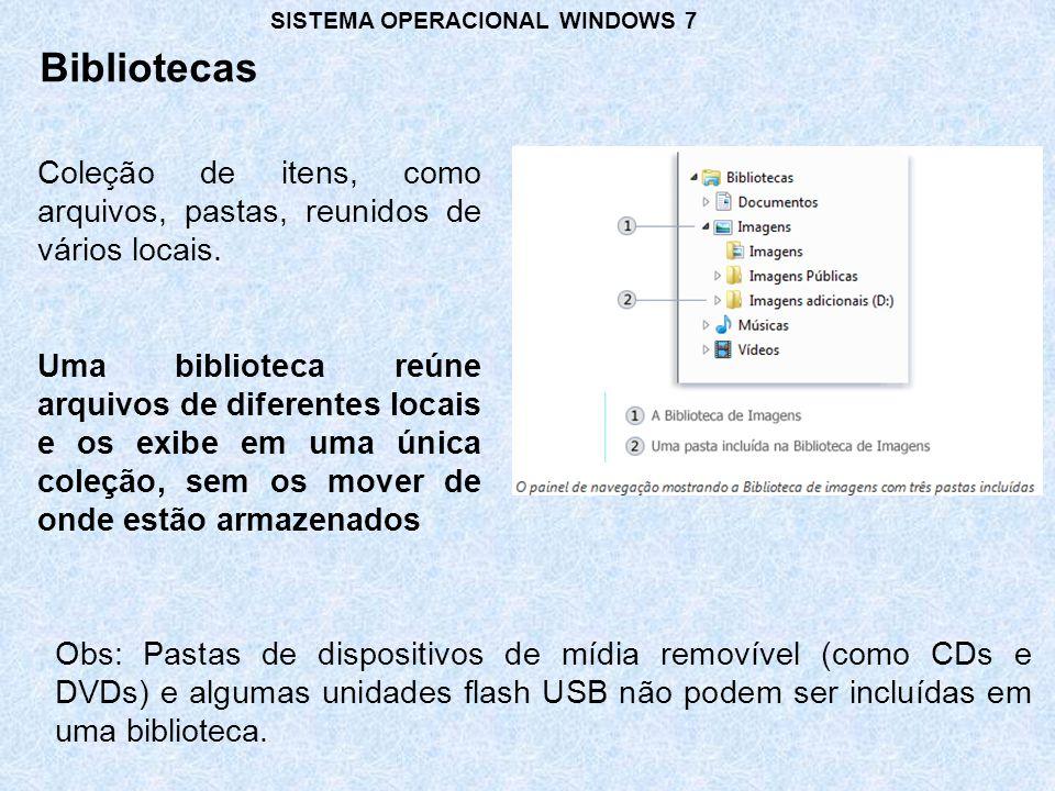 Bibliotecas SISTEMA OPERACIONAL WINDOWS 7 Coleção de itens, como arquivos, pastas, reunidos de vários locais.