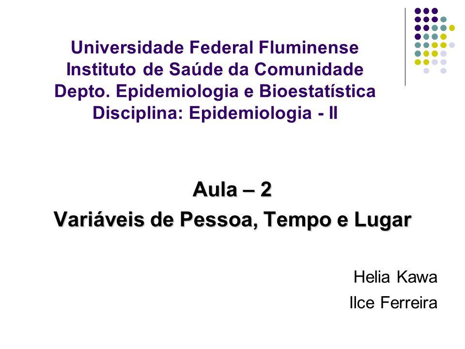 Universidade Federal Fluminense Instituto de Saúde da Comunidade Depto. Epidemiologia e Bioestatística Disciplina: Epidemiologia - II Aula – 2 Variáve