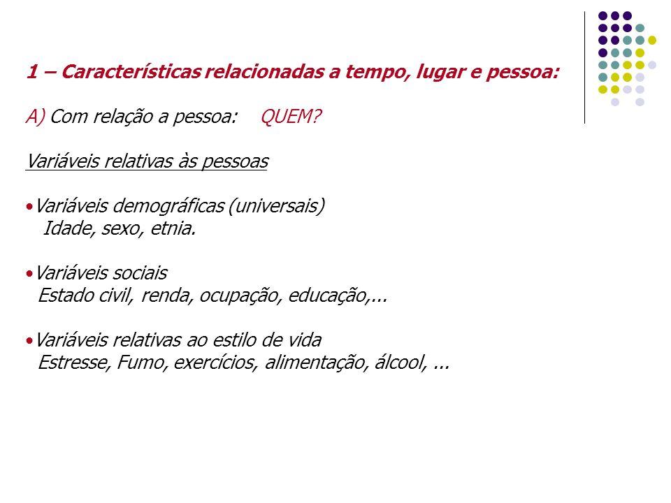 1 – Características relacionadas a tempo, lugar e pessoa: A) Com relação a pessoa: QUEM.