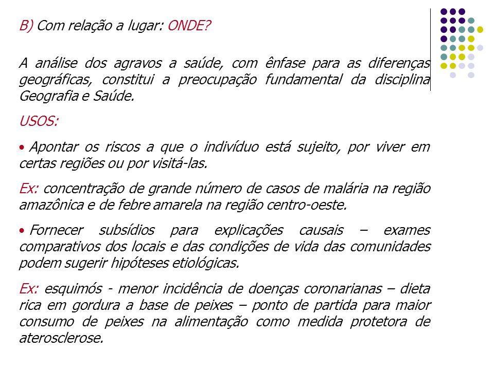 B) Com relação a lugar: ONDE? A análise dos agravos a saúde, com ênfase para as diferenças geográficas, constitui a preocupação fundamental da discipl