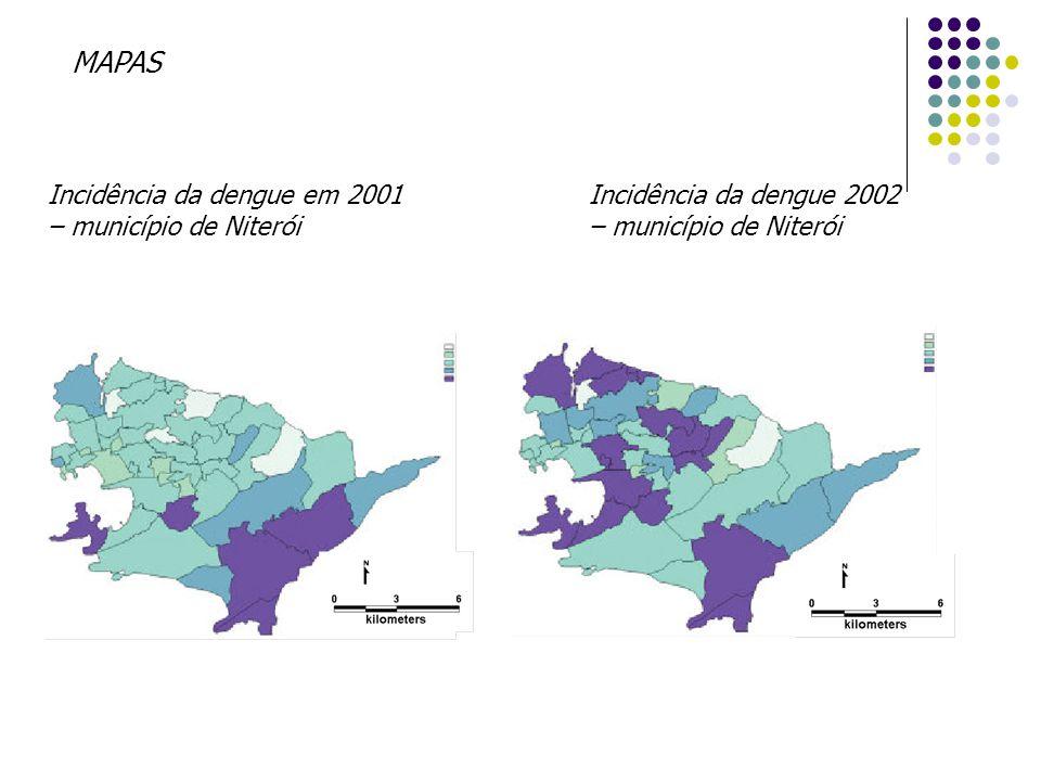 Incidência da dengue 2002 – município de Niterói Incidência da dengue em 2001 – município de Niterói MAPAS