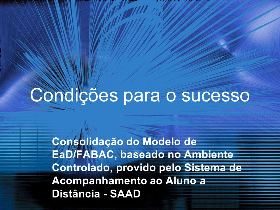 Condições para o sucesso Consolidação do Modelo de EaD/FABAC, baseado no Ambiente Controlado, provido pelo Sistema de Acompanhamento ao Aluno a Distân
