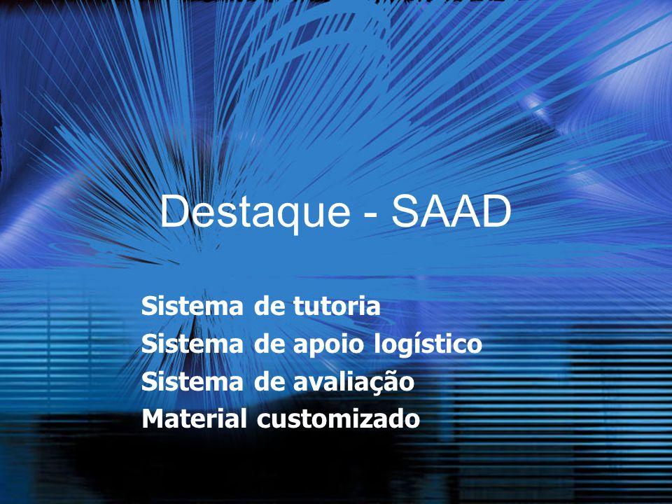 Destaque - SAAD Sistema de tutoria Sistema de apoio logístico Sistema de avaliação Material customizado