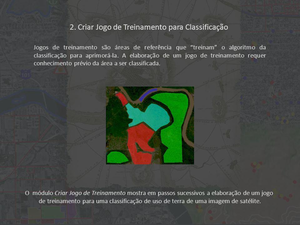 O módulo Criar Jogo de Treinamento mostra em passos sucessivos a elaboração de um jogo de treinamento para uma classificação de uso de terra de uma imagem de satélite.