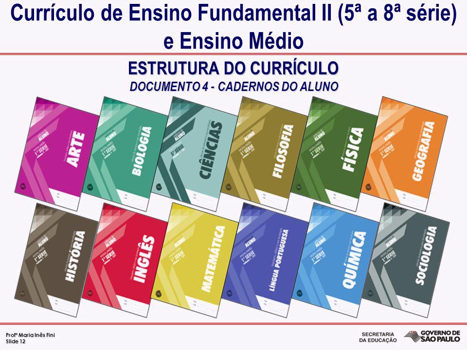 Profª Maria Inês Fini Slide 12 ESTRUTURA DO CURRÍCULO DOCUMENTO 4 - CADERNOS DO ALUNO Currículo de Ensino Fundamental II (5ª a 8ª série) e Ensino Médi
