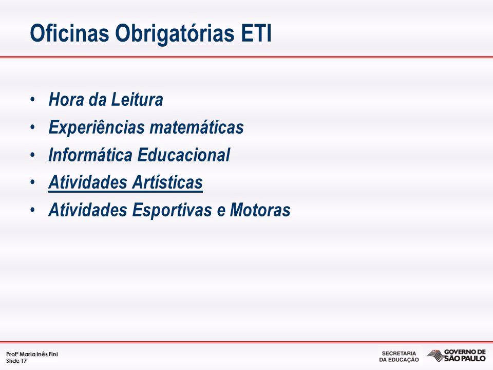 Profª Maria Inês Fini Slide 17 Oficinas Obrigatórias ETI Hora da Leitura Experiências matemáticas Informática Educacional Atividades Artísticas Ativid