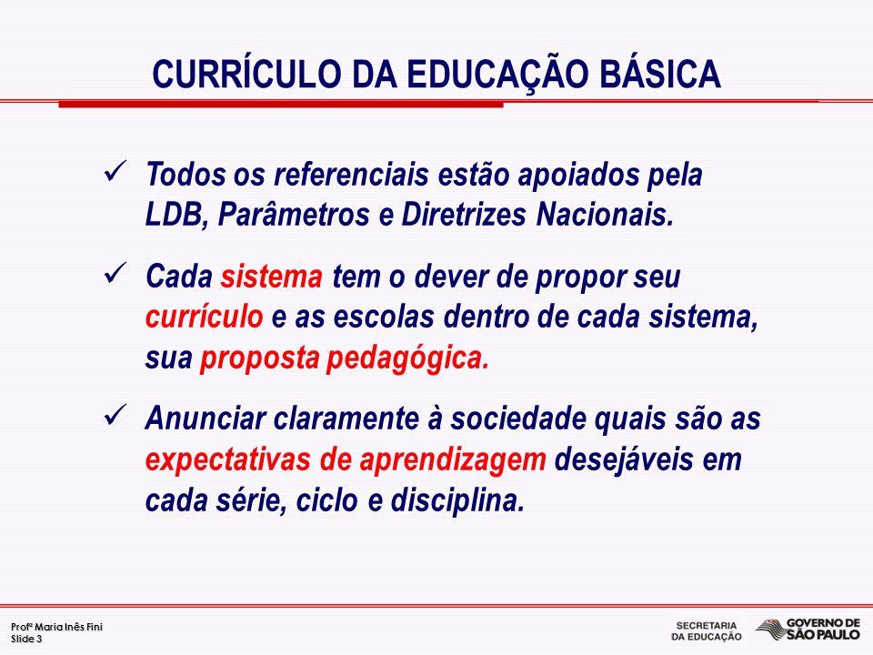 Profª Maria Inês Fini Slide 3 CURRÍCULO DA EDUCAÇÃO BÁSICA Todos os referenciais estão apoiados pela LDB, Parâmetros e Diretrizes Nacionais. Cada sist