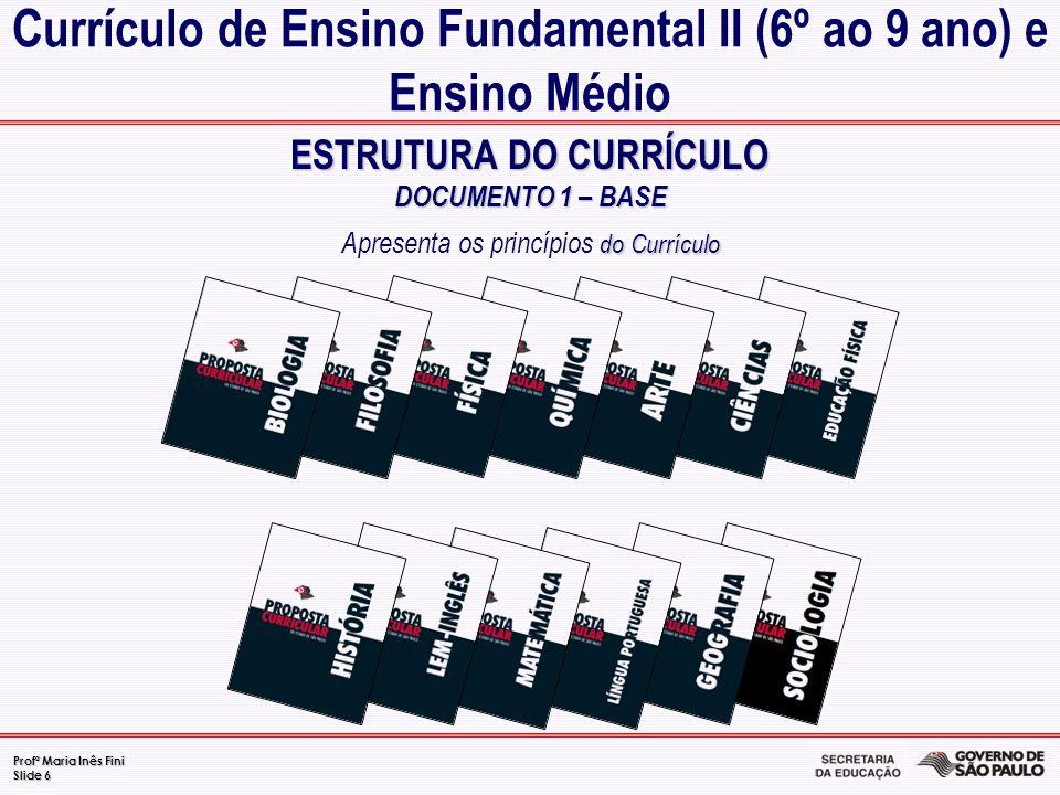 Profª Maria Inês Fini Slide 6 ESTRUTURA DO CURRÍCULO DOCUMENTO 1 – BASE do Currículo ESTRUTURA DO CURRÍCULO DOCUMENTO 1 – BASE Apresenta os princípios