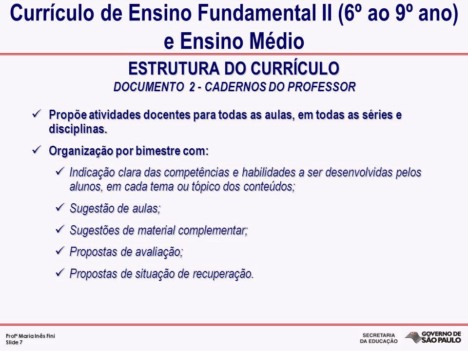 Profª Maria Inês Fini Slide 7 ESTRUTURA DO CURRÍCULO DOCUMENTO 2 - CADERNOS DO PROFESSOR Currículo de Ensino Fundamental II (6º ao 9º ano) e Ensino Mé