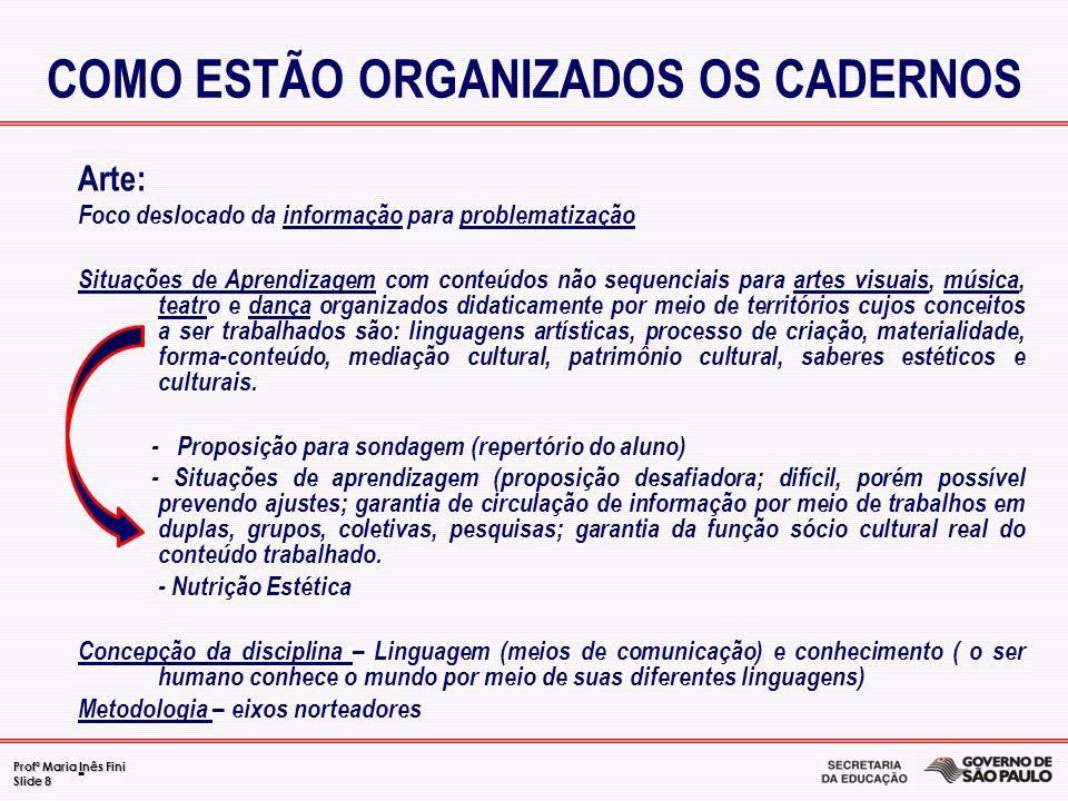 Profª Maria Inês Fini Slide 8 Arte: Foco deslocado da informação para problematização Situações de Aprendizagem com conteúdos não sequenciais para art