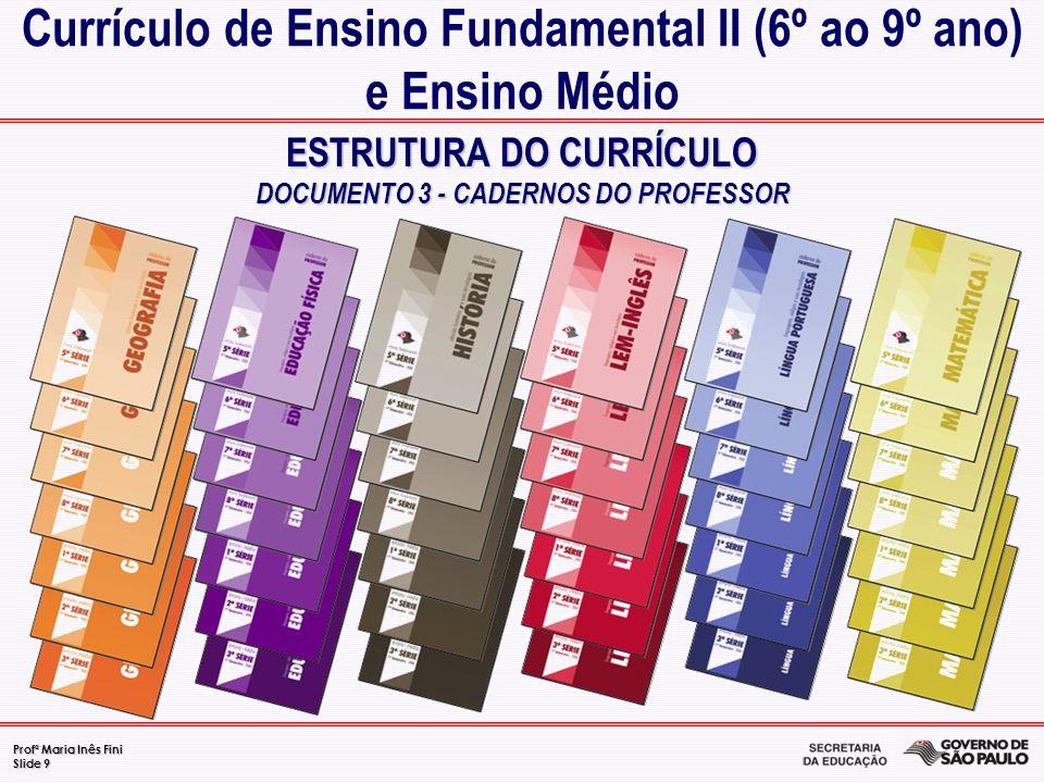 Profª Maria Inês Fini Slide 9 ESTRUTURA DO CURRÍCULO DOCUMENTO 3 - CADERNOS DO PROFESSOR Currículo de Ensino Fundamental II (6º ao 9º ano) e Ensino Mé