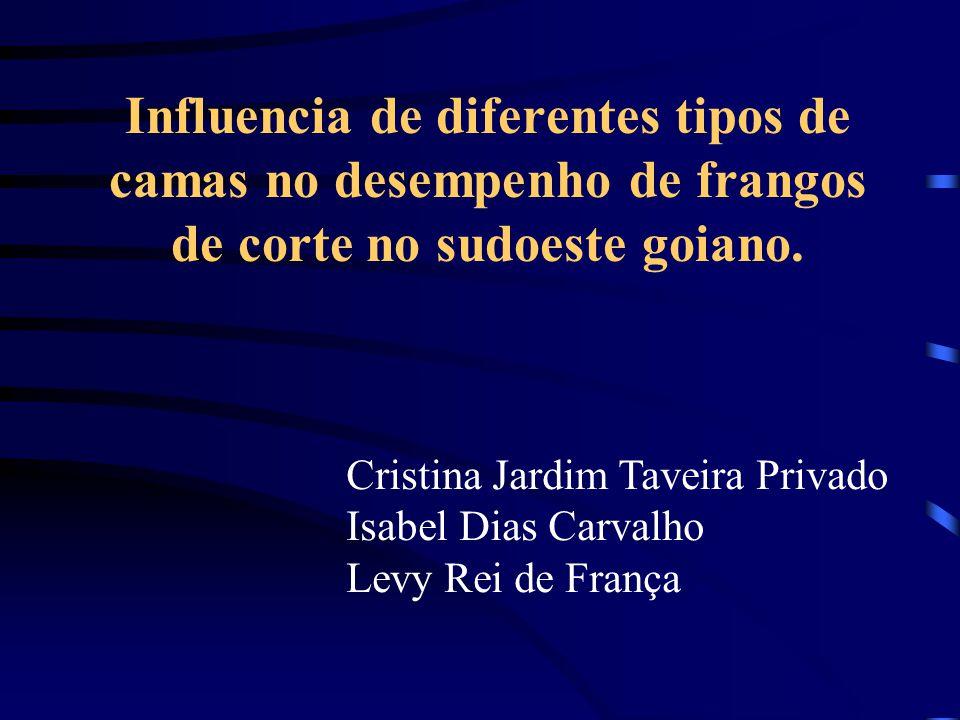 Influencia de diferentes tipos de camas no desempenho de frangos de corte no sudoeste goiano. Cristina Jardim Taveira Privado Isabel Dias Carvalho Lev