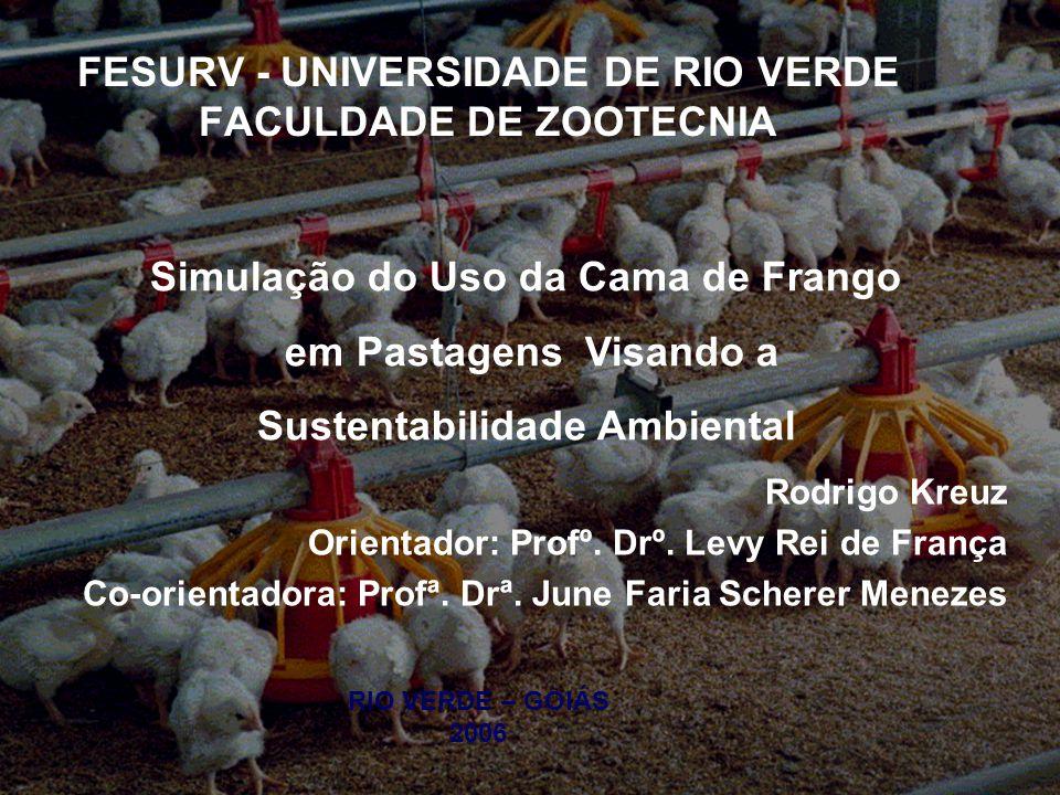 FESURV - UNIVERSIDADE DE RIO VERDE FACULDADE DE ZOOTECNIA RIO VERDE – GOIÁS 2006 Rodrigo Kreuz Orientador: Profº. Drº. Levy Rei de França Co-orientado