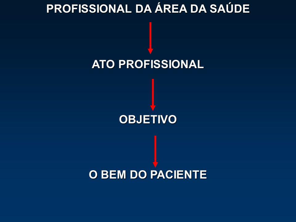 PROFISSIONAL DA ÁREA DA SAÚDE ATO PROFISSIONAL OBJETIVO O BEM DO PACIENTE