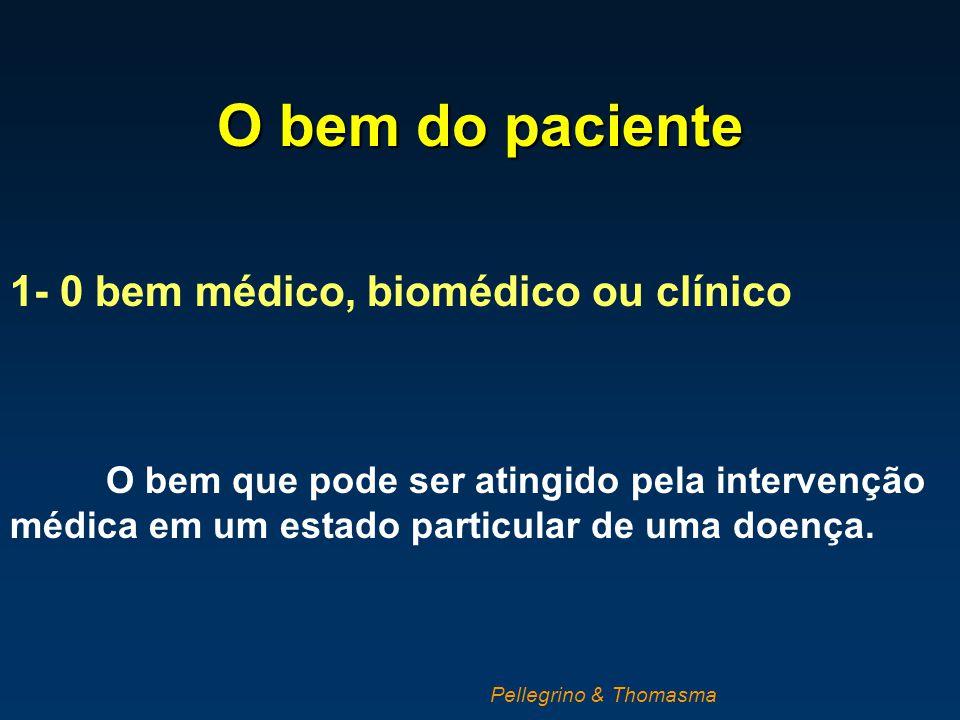 O bem do paciente 1- 0 bem médico, biomédico ou clínico O bem que pode ser atingido pela intervenção médica em um estado particular de uma doença. Pel