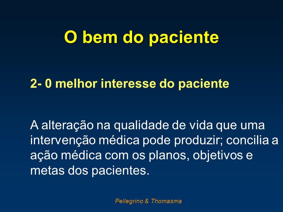 O bem do paciente 2- 0 melhor interesse do paciente A alteração na qualidade de vida que uma intervenção médica pode produzir; concilia a ação médica