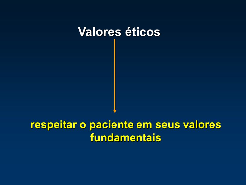 Valores éticos respeitar o paciente em seus valores fundamentais