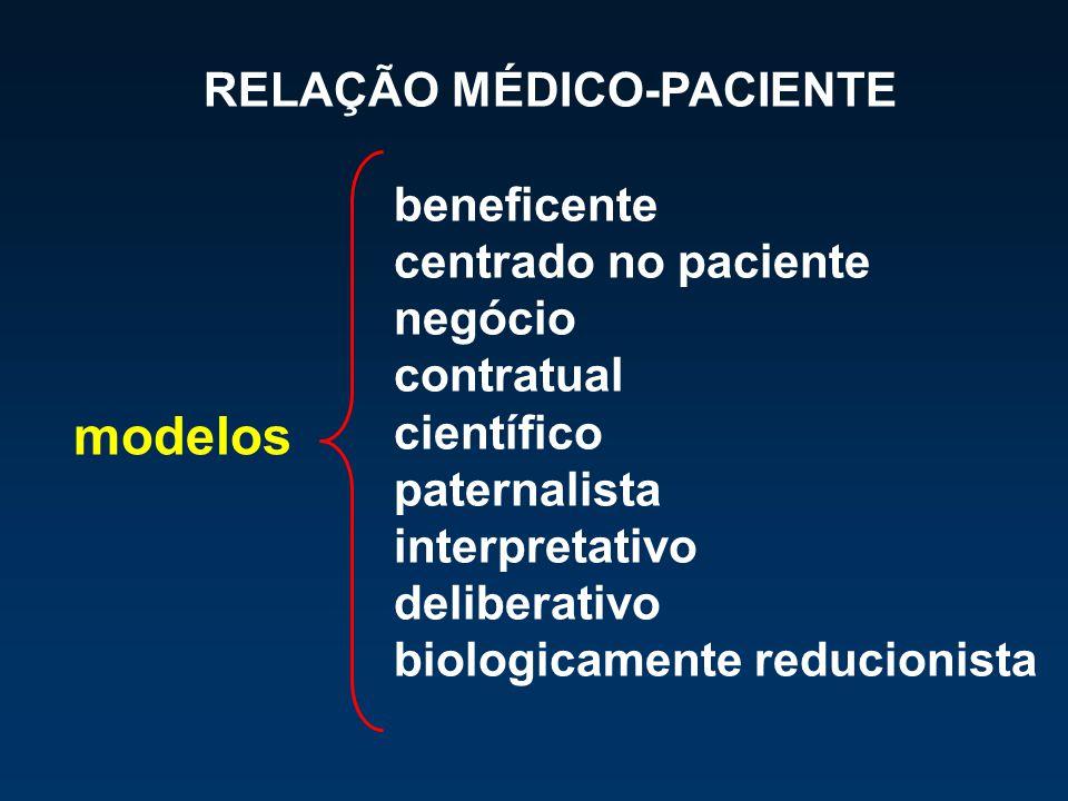 beneficente centrado no paciente negócio contratual científico paternalista interpretativo deliberativo biologicamente reducionista modelos