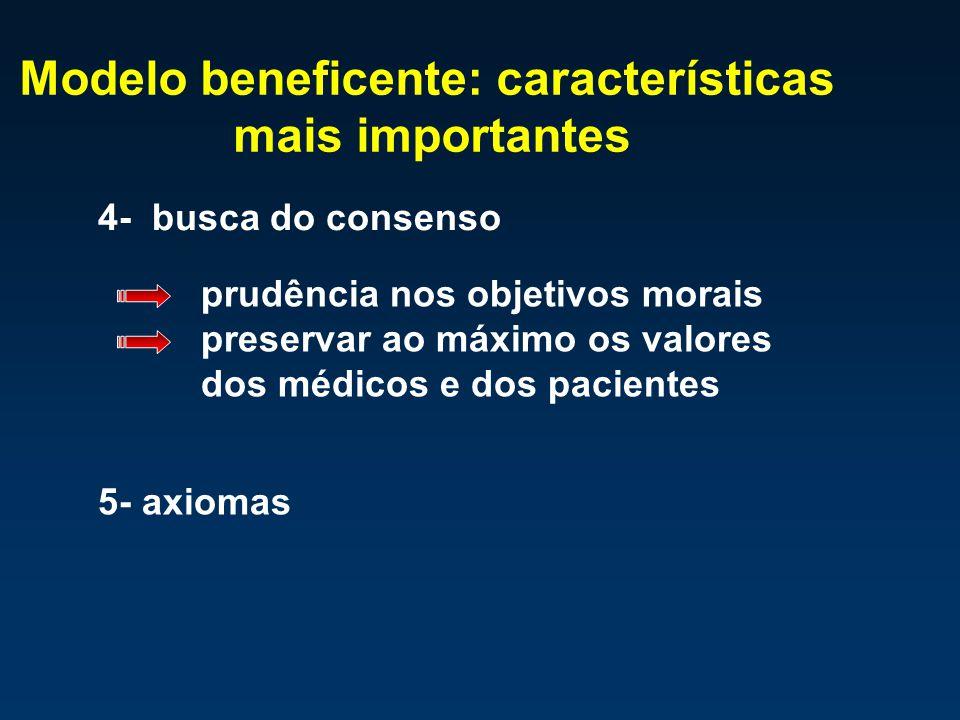 Modelo beneficente: características mais importantes 4- busca do consenso prudência nos objetivos morais preservar ao máximo os valores dos médicos e