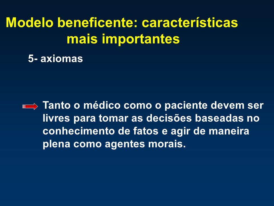 Modelo beneficente: características mais importantes 5- axiomas Tanto o médico como o paciente devem ser livres para tomar as decisões baseadas no con