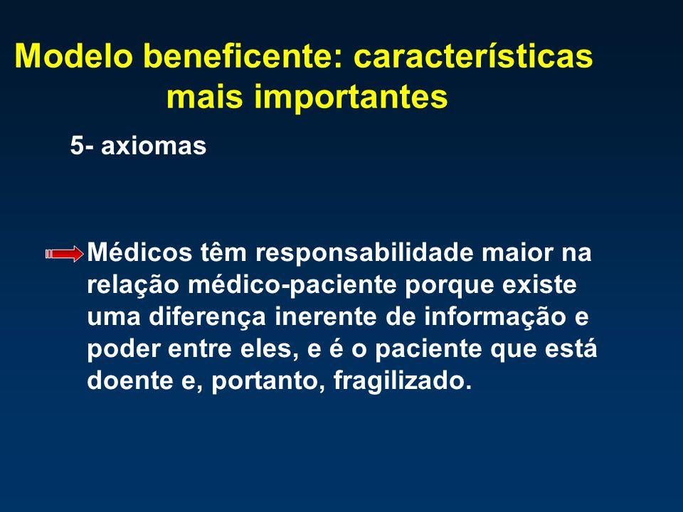 Modelo beneficente: características mais importantes 5- axiomas Médicos têm responsabilidade maior na relação médico-paciente porque existe uma difere