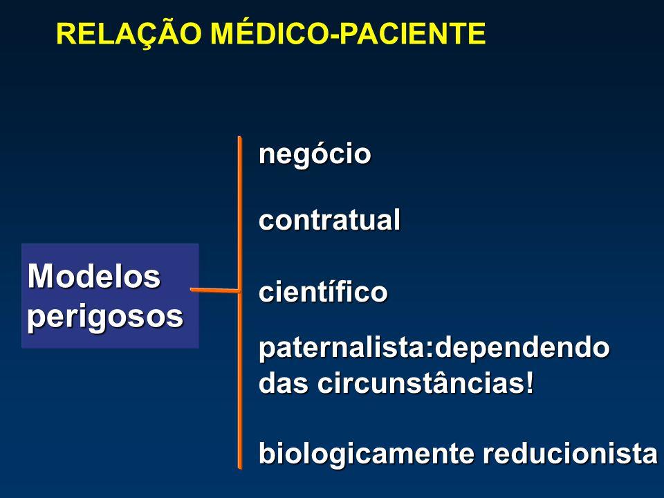 paternalista:dependendo das circunstâncias! negócio contratual científico Modelos Modelos perigosos perigosos RELAÇÃO MÉDICO-PACIENTE biologicamente r