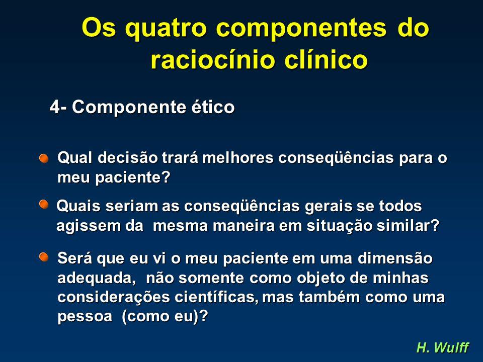 Os quatro componentes do raciocínio clínico raciocínio clínico 4- Componente ético Qual decisão trará melhores conseqüências para o meu paciente? Quai
