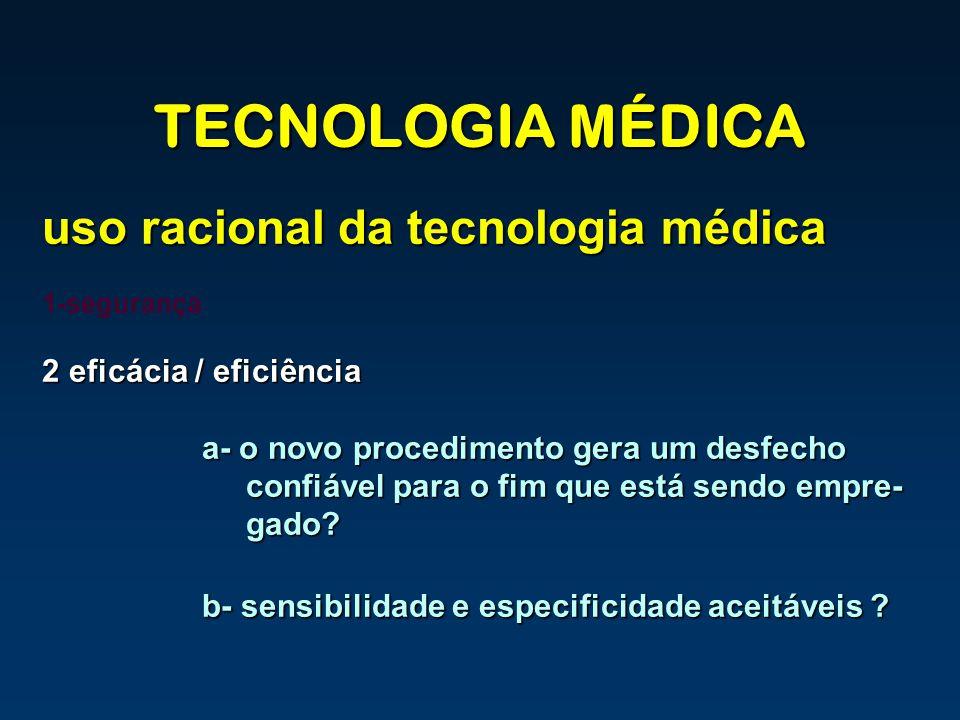 TECNOLOGIA MÉDICA uso racional da tecnologia médica 1-segurança 2 eficácia / eficiência a- o novo procedimento gera um desfecho confiável para o fim q