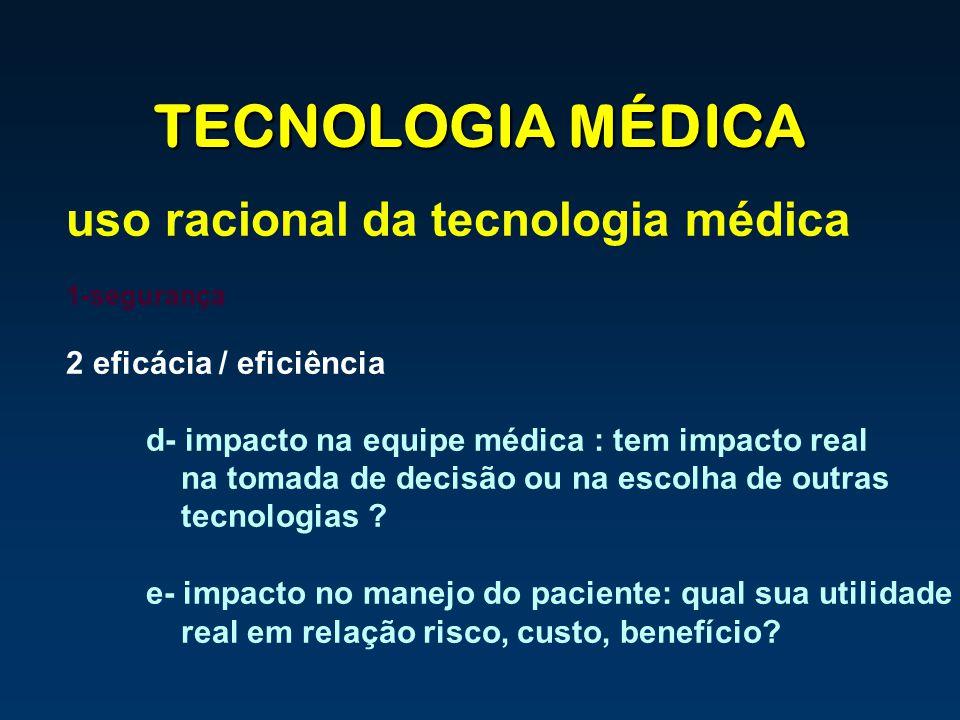 TECNOLOGIA MÉDICA uso racional da tecnologia médica 1-segurança 2 eficácia / eficiência d- impacto na equipe médica : tem impacto real na tomada de de