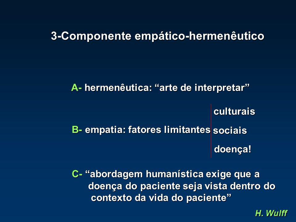 """3-Componente empático-hermenêutico A- hermenêutica: """"arte de interpretar"""" B- empatia: fatores limitantes doença! sociais culturais C- """"abordagem human"""