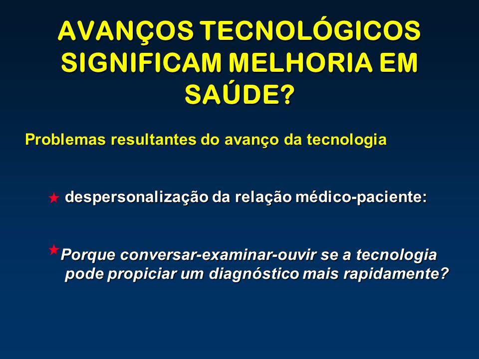 AVANÇOS TECNOLÓGICOS SIGNIFICAM MELHORIA EM SAÚDE? Problemas resultantes do avanço da tecnologia despersonalização da relação médico-paciente: Porque