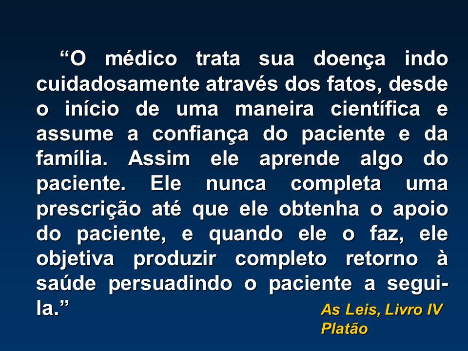 """Platão """"O médico trata sua doença indo cuidadosamente através dos fatos, desde o início de uma maneira científica e assume a confiança do paciente e d"""