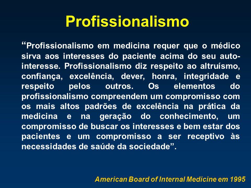""""""" Profissionalismo em medicina requer que o médico sirva aos interesses do paciente acima do seu auto- interesse. Profissionalismo diz respeito ao alt"""