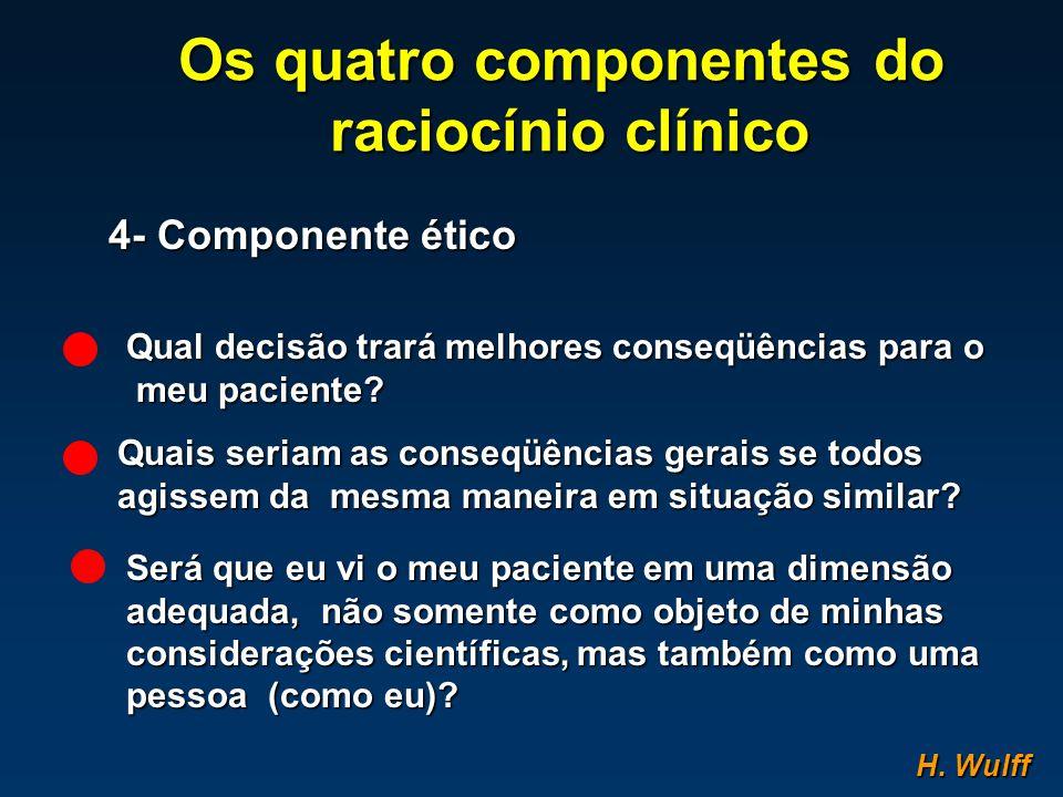 Os quatro componentes do raciocínio clínico raciocínio clínico 4- Componente ético Qual decisão trará melhores conseqüências para o meu paciente? meu