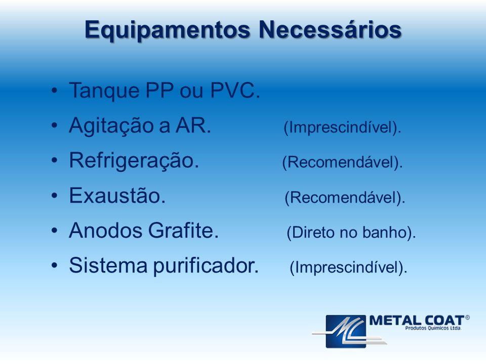 Equipamentos Necessários Tanque PP ou PVC. Agitação a AR. (Imprescindível). Refrigeração. (Recomendável). Exaustão. (Recomendável). Anodos Grafite. (D