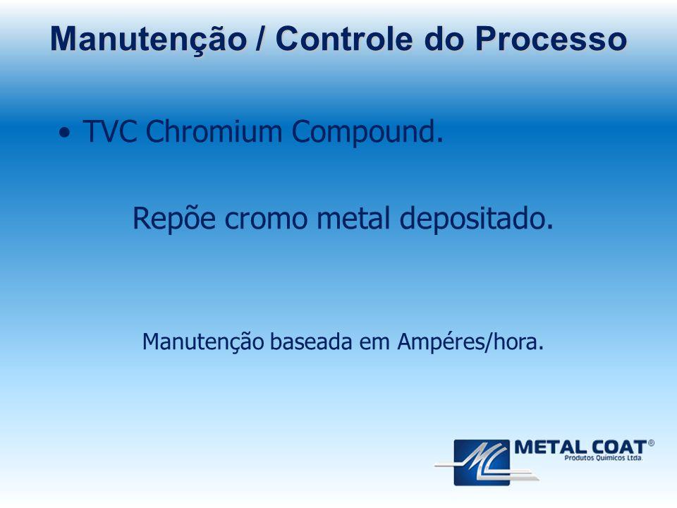 TVC Chromium Compound. Repõe cromo metal depositado. Manutenção baseada em Ampéres/hora. Manutenção / Controle do Processo