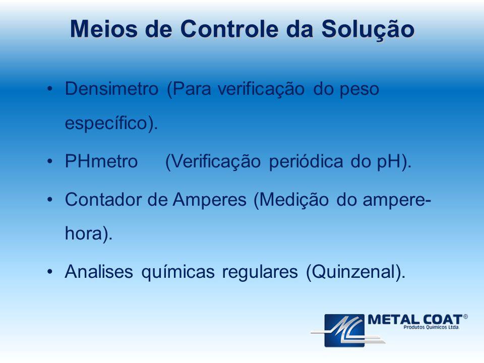 Meios de Controle da Solução Densimetro (Para verificação do peso específico). PHmetro (Verificação periódica do pH). Contador de Amperes (Medição do