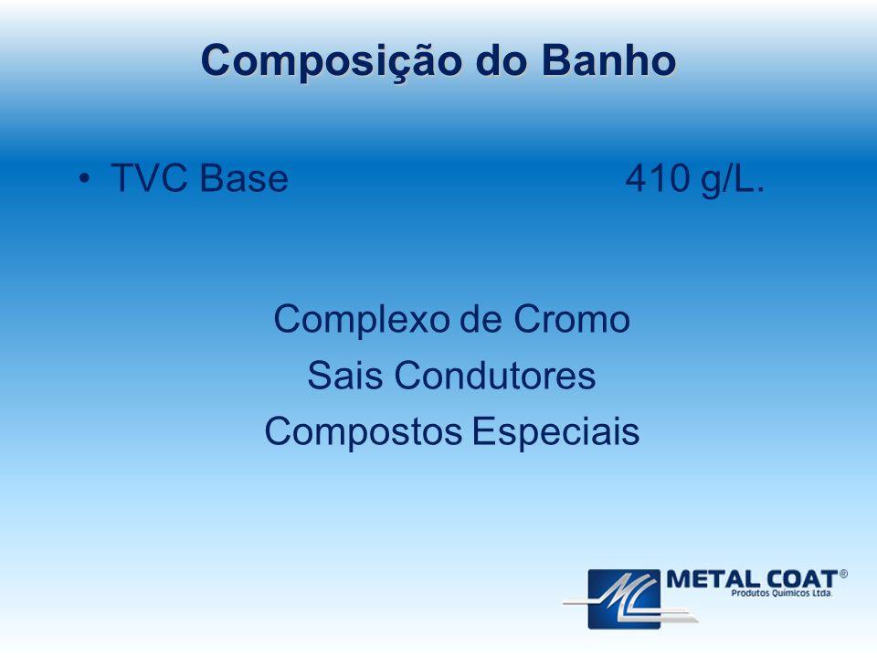 TVC Base 410 g/L. Complexo de Cromo Sais Condutores Compostos Especiais Composição do Banho