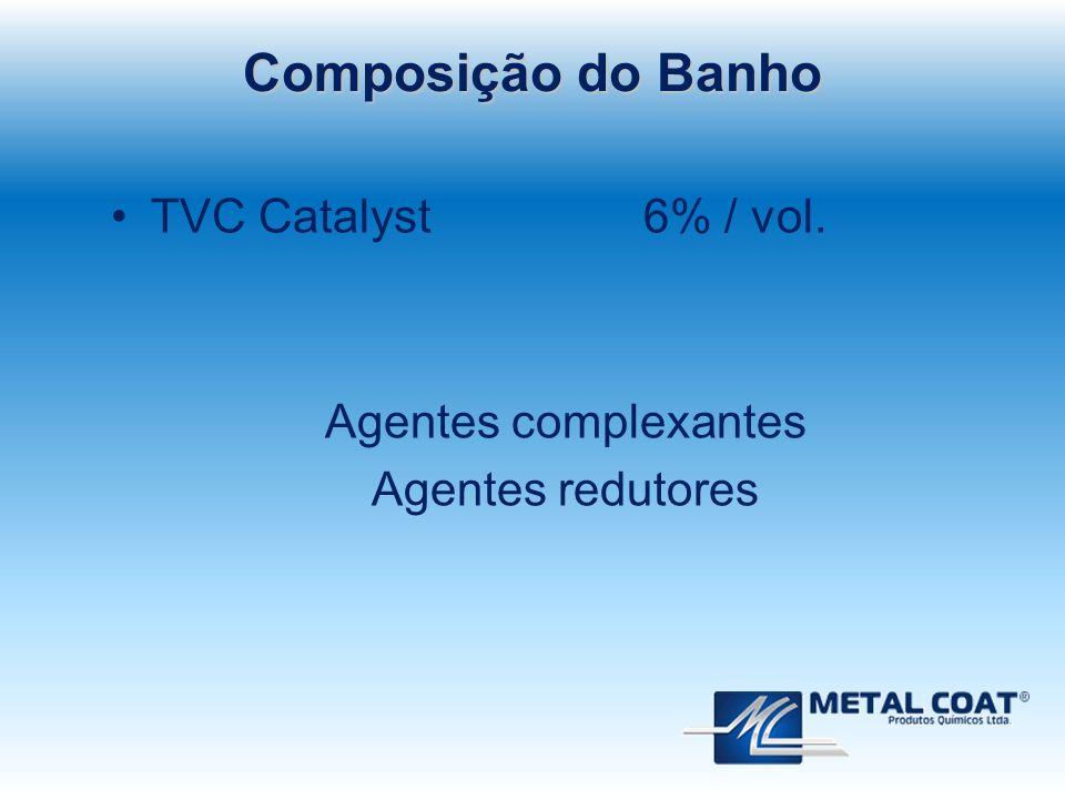 TVC Catalyst 6% / vol. Agentes complexantes Agentes redutores