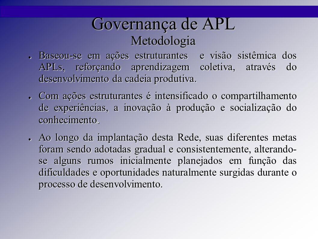 Governança de APL Metodologia ● Baseou-se em ações estruturantes e visão sistêmica dos APLs, reforçando aprendizagem coletiva, através do desenvolvimento da cadeia produtiva.