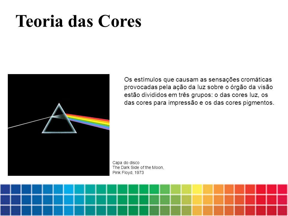 Os estímulos que causam as sensações cromáticas provocadas pela ação da luz sobre o órgão da visão estão divididos em três grupos: o das cores luz, os das cores para impressão e os das cores pigmentos.