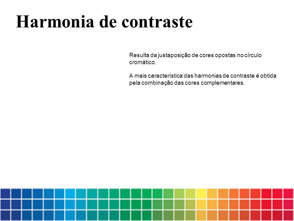 Resulta da justaposição de cores opostas no círculo cromático. A mais característica das harmonias de contraste é obtida pela combinação das cores com