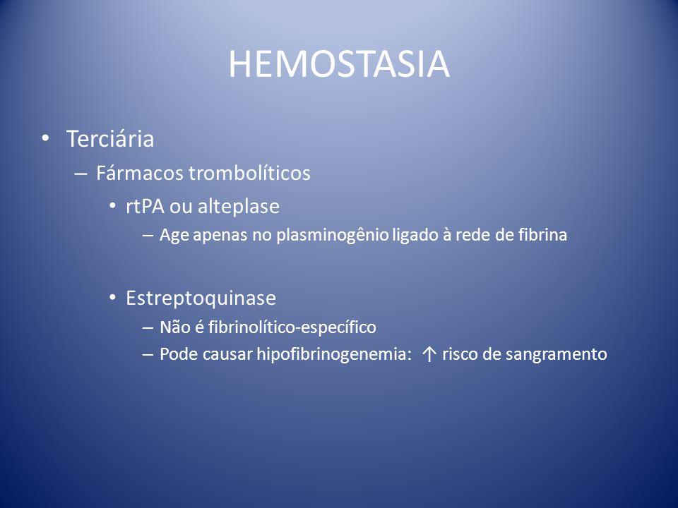 HEMOSTASIA Terciária – Fármacos trombolíticos rtPA ou alteplase – Age apenas no plasminogênio ligado à rede de fibrina Estreptoquinase – Não é fibrino