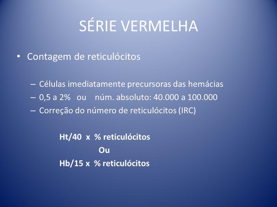 SÉRIE VERMELHA Contagem de reticulócitos – Células imediatamente precursoras das hemácias – 0,5 a 2% ou núm. absoluto: 40.000 a 100.000 – Correção do