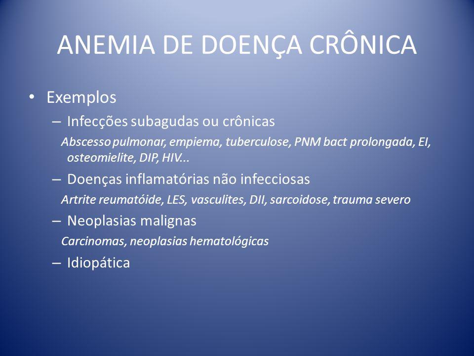 ANEMIA DE DOENÇA CRÔNICA Exemplos – Infecções subagudas ou crônicas Abscesso pulmonar, empiema, tuberculose, PNM bact prolongada, EI, osteomielite, DI